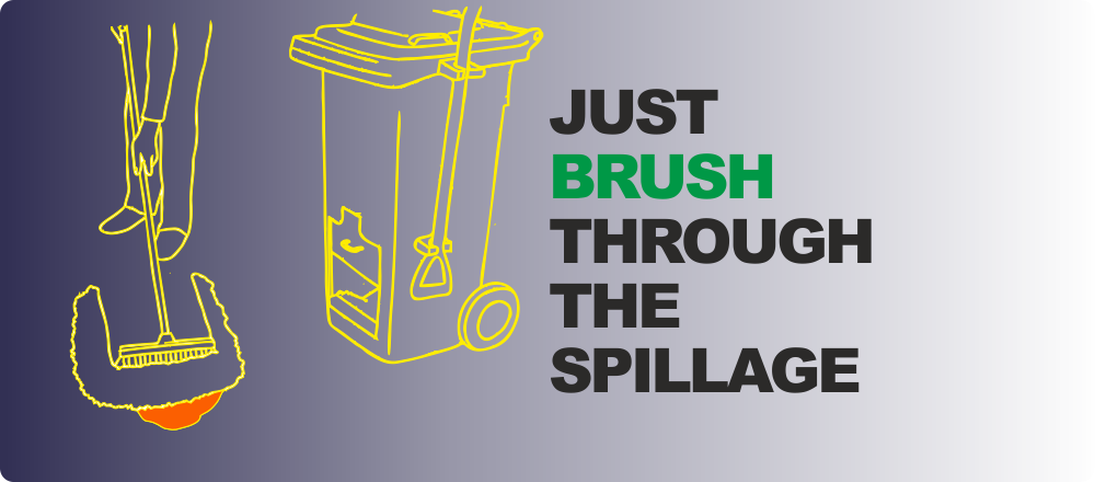 Simply brush Spill Hound through the spillage.